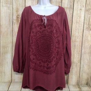 Soft Surroundings Tunic Peasant Embroidery Mandala